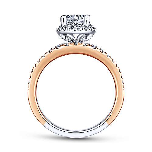 Tamryn 18k White And Rose Gold Round Halo Engagement Ring angle 2