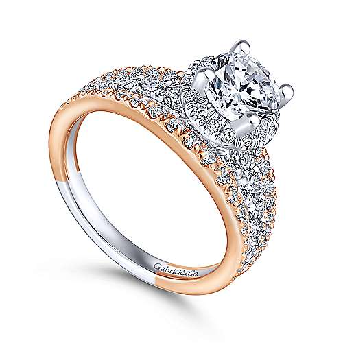 Tamryn 18k White And Rose Gold Round Halo Engagement Ring angle 3