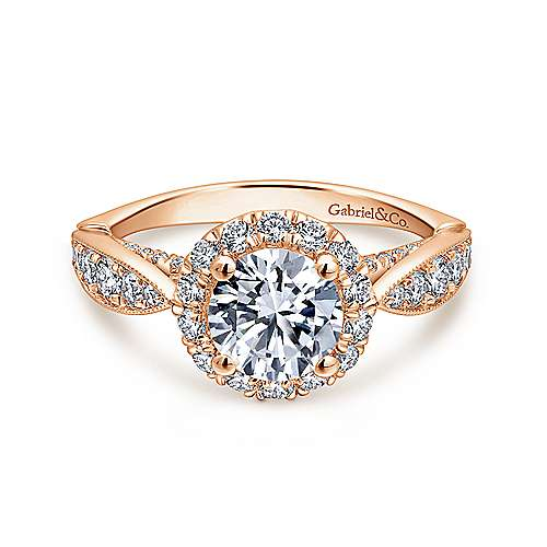 Gabriel - Tansy 14k Rose Gold Round Halo Engagement Ring