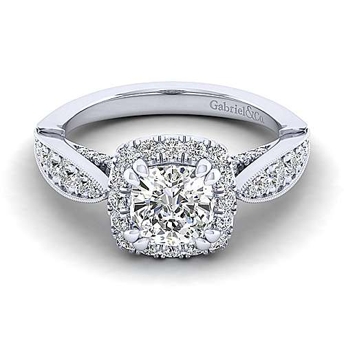 Gabriel - Tansy 14k White Gold Cushion Cut Halo Engagement Ring