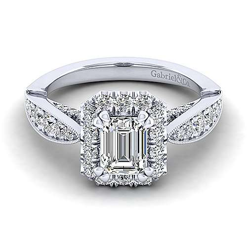 Gabriel - Tansy 14k White Gold Emerald Cut Halo Engagement Ring