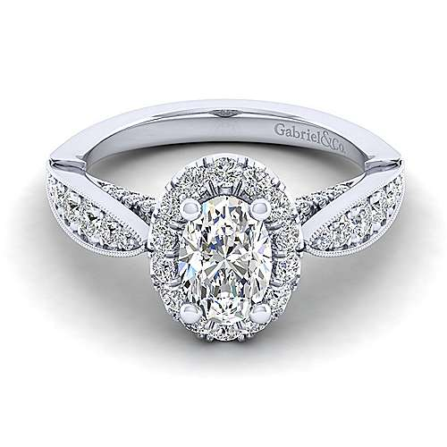 Gabriel - Tansy 14k White Gold Oval Halo Engagement Ring