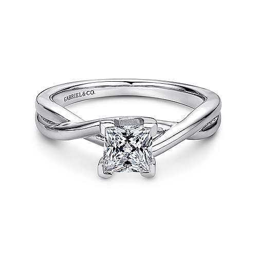 Gabriel - Tanya 14k White Gold Princess Cut Solitaire Engagement Ring