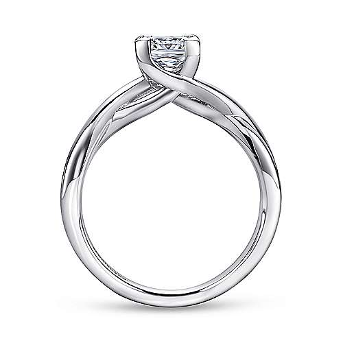 Tanya 14k White Gold Princess Cut Solitaire Engagement Ring angle 2