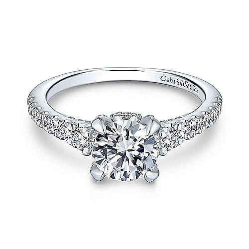 Tara 14k White Gold Round Straight Engagement Ring angle 1
