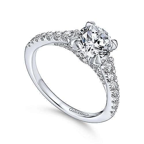 Tara 14k White Gold Round Straight Engagement Ring angle 3