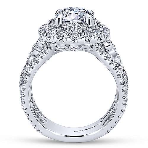 Tarantana 18k White Gold Round Double Halo Engagement Ring angle 2