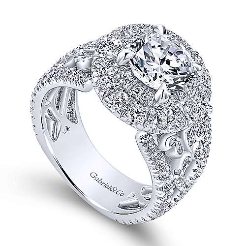 Tarantana 18k White Gold Round Double Halo Engagement Ring angle 3