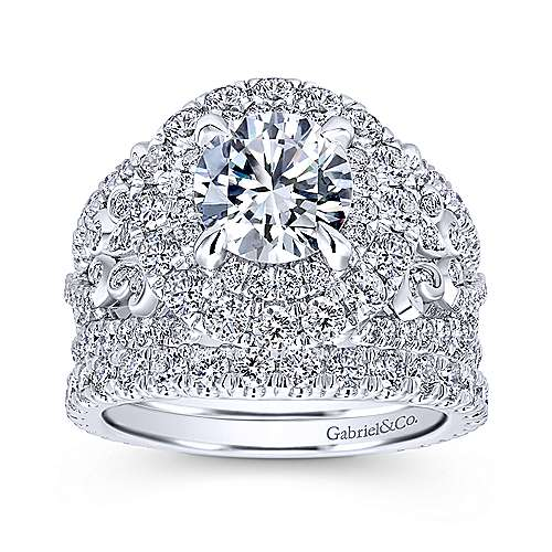 Tarantana 18k White Gold Round Double Halo Engagement Ring angle 4
