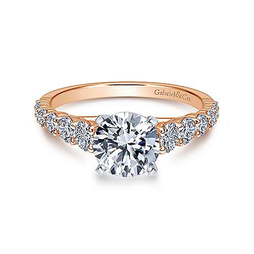 Gabriel - Taylor 14k White And Rose Gold Round Straight Engagement Ring