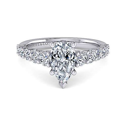 Gabriel - Taylor 14k White Gold Pear Shape Straight Engagement Ring