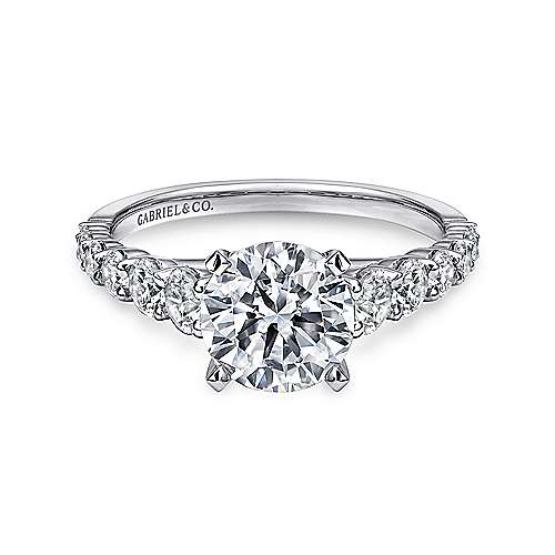 Gabriel - Taylor 14k White Gold Round Straight Engagement Ring