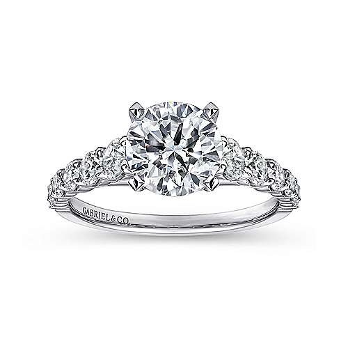 Taylor 14k White Gold Round Straight Engagement Ring angle 5
