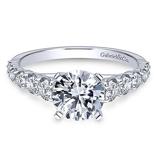 Gabriel - Taylor 18k White Gold Round Straight Engagement Ring