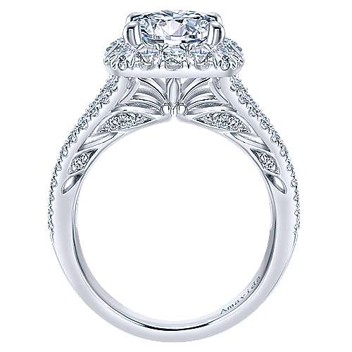 Temi 18k White Gold Round Halo Engagement Ring angle 2