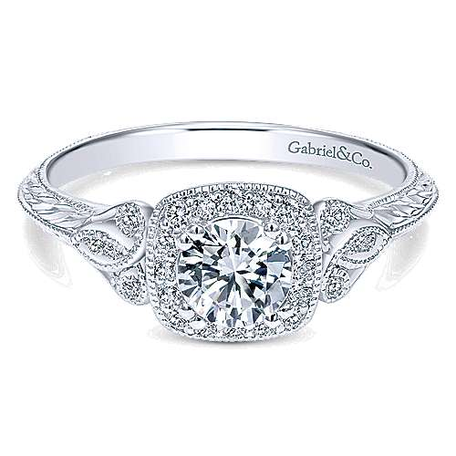 Gabriel - Temperance 14k White Gold Round Halo Engagement Ring