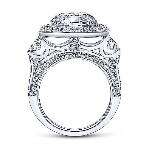 Temple 18k White Gold Round Double Halo Engagement Ring angle 2