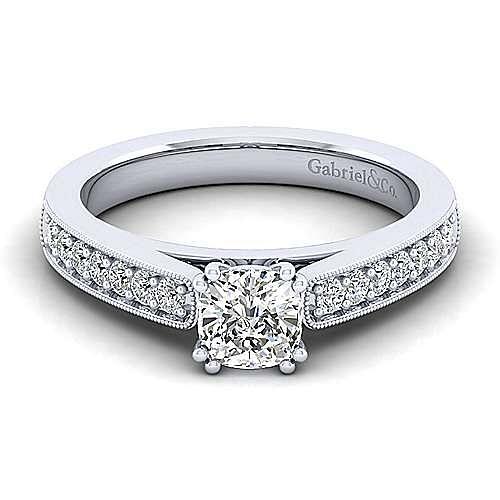 Gabriel - Tess 14k White Gold Cushion Cut Straight Engagement Ring