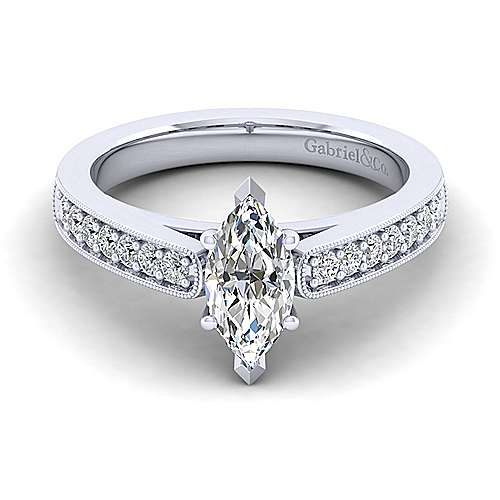 Gabriel - Tess 14k White Gold Marquise  Straight Engagement Ring