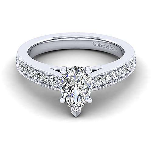 Gabriel - Tess 14k White Gold Pear Shape Straight Engagement Ring