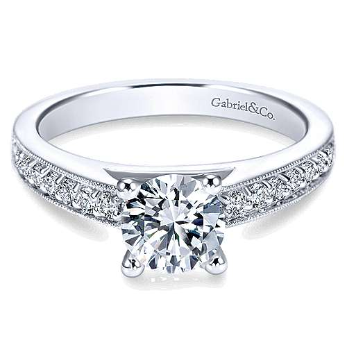 Gabriel - Tess 14k White Gold Round Straight Engagement Ring