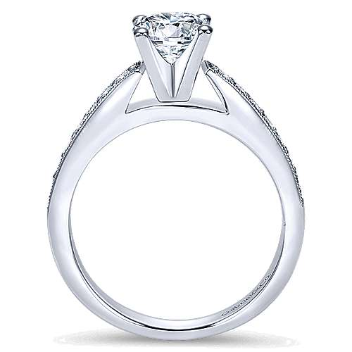 Tess 14k White Gold Round Straight Engagement Ring angle 2