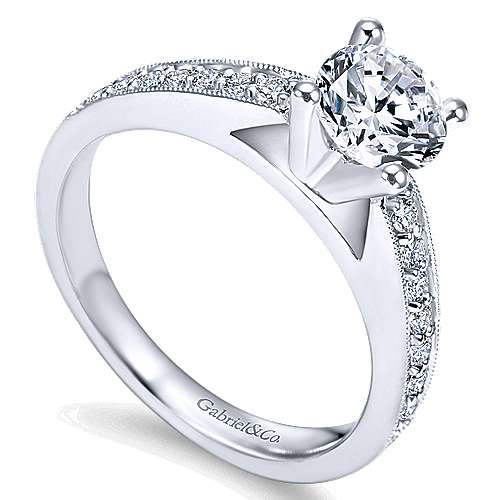 Tess 14k White Gold Round Straight Engagement Ring angle 3