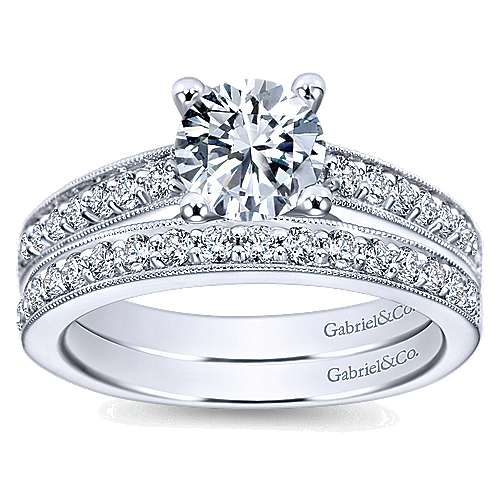 Tess 14k White Gold Round Straight Engagement Ring angle 4