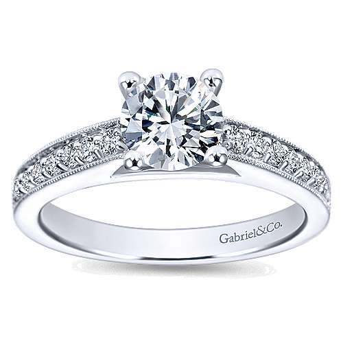 Tess 14k White Gold Round Straight Engagement Ring angle 5