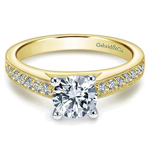 Gabriel - Tess 14k Yellow And White Gold Round Straight Engagement Ring
