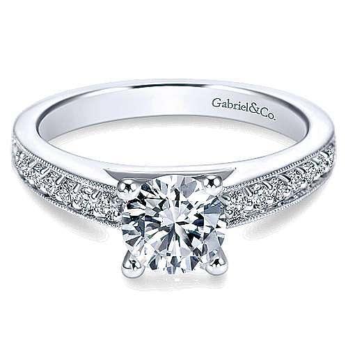 Gabriel - Tess Platinum Round Straight Engagement Ring