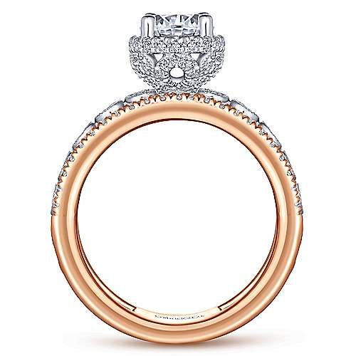 Tessa 18k White And Rose Gold Round Straight Engagement Ring angle 2