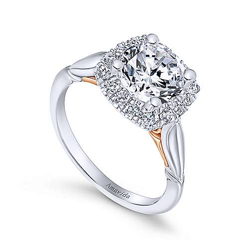 Thailand 18k White And Rose Gold Round Halo Engagement Ring angle 3