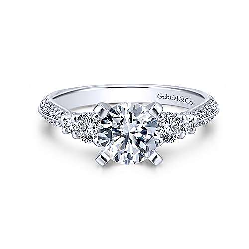Gabriel - Thandie 14k White Gold Round 3 Stones Engagement Ring