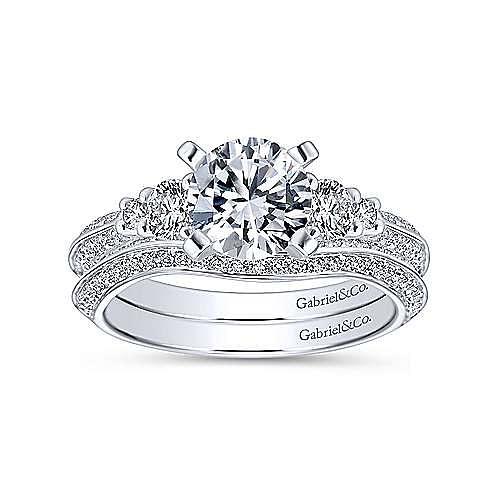 Thandie 14k White Gold Round 3 Stones Engagement Ring angle 4