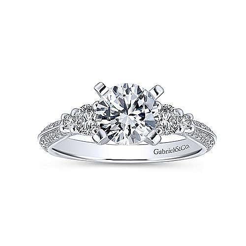 Thandie 14k White Gold Round 3 Stones Engagement Ring angle 5