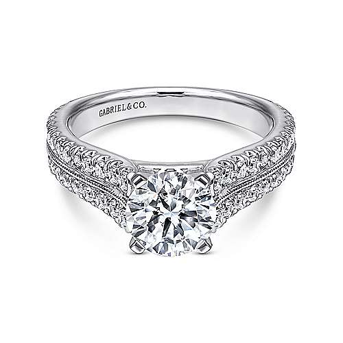 Gabriel - Thea 14k White Gold Round Wide Band Engagement Ring