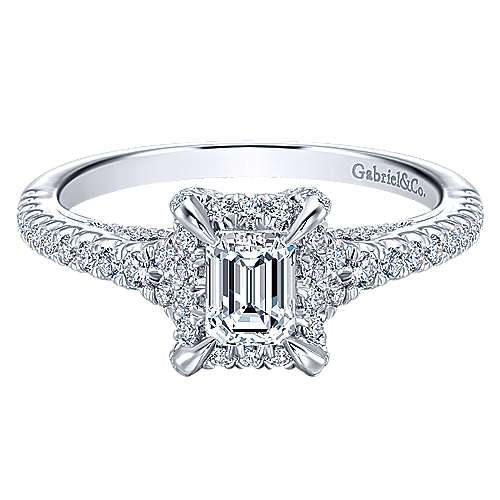 Gabriel - Thebe 14k White Gold Emerald Cut Halo Engagement Ring