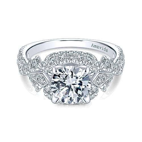 Thelma 18k White Gold Round Halo Engagement Ring angle 1