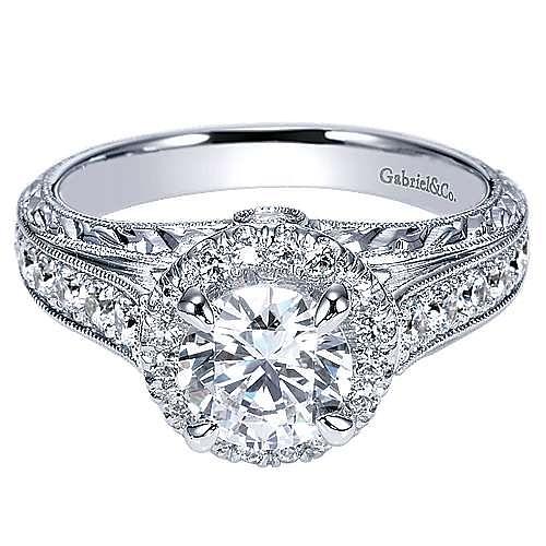 Theodora 14k White Gold Round Halo Engagement Ring angle 1