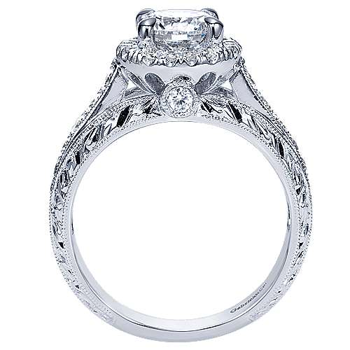 Theodora 14k White Gold Round Halo Engagement Ring angle 2
