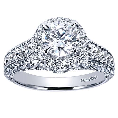 Theodora 14k White Gold Round Halo Engagement Ring angle 5