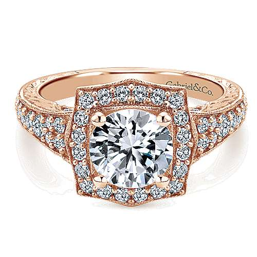 Gabriel - Theresa 14k Rose Gold Round Halo Engagement Ring