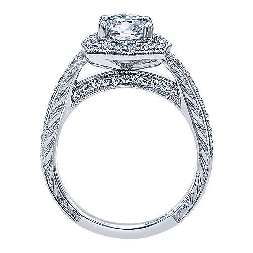 Theresa 14k White Gold Round Halo Engagement Ring angle 2