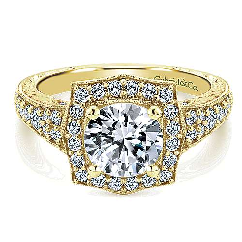 Theresa 14k Yellow Gold Round Halo Engagement Ring angle 1