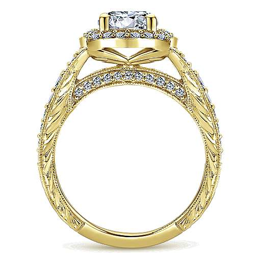 Theresa 14k Yellow Gold Round Halo Engagement Ring angle 2