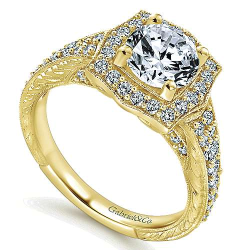 Theresa 14k Yellow Gold Round Halo Engagement Ring angle 3
