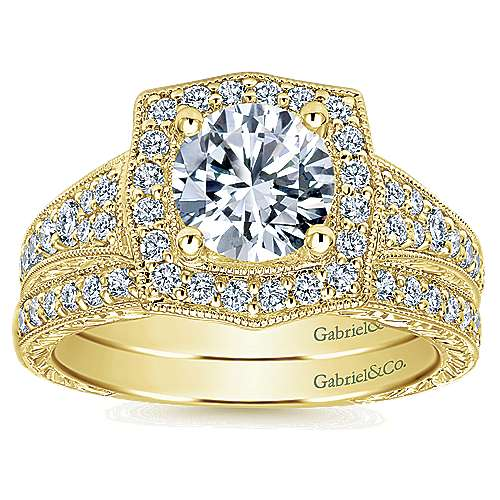 Theresa 14k Yellow Gold Round Halo Engagement Ring angle 4