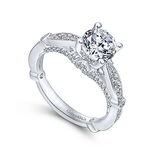 Thistle 14k White Gold Round Straight Engagement Ring angle 3