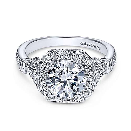 Gabriel - Thompson 14k White Gold Round Halo Engagement Ring